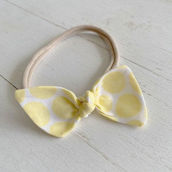 Baby girl headband bow {Lemonade} baby hair bows, nylon headbands