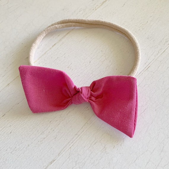 Baby girl bow headband {Dusty Rose} newborn hair bows - baby girl clothes - hair bow clips - hair bows