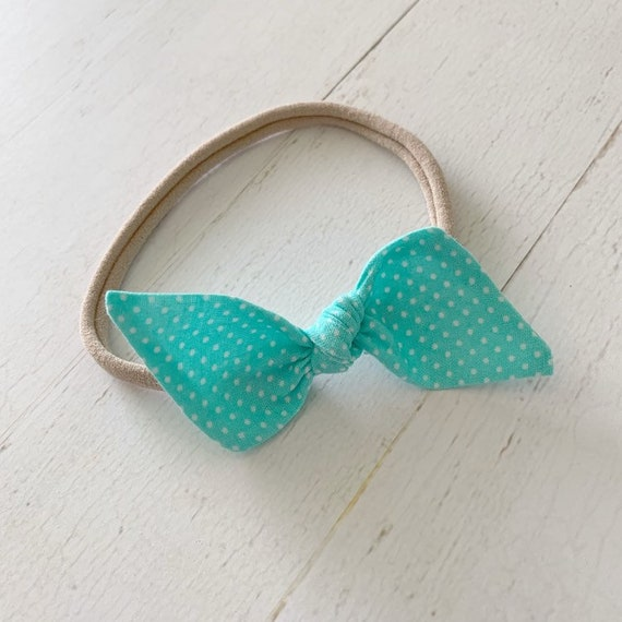 Baby bow nylon headband {Mint Polka Dot} newborn headbands, baby gifts, hair clips