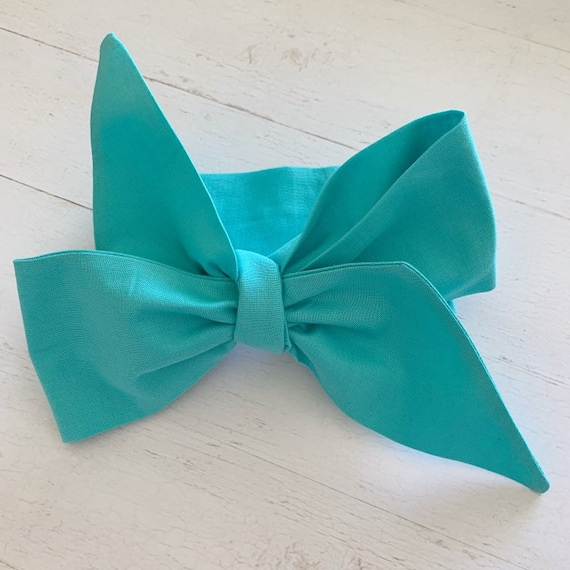 Head wrap hair bow {Aquamarine} newborn headbands - baby girl clothing - baby headbands