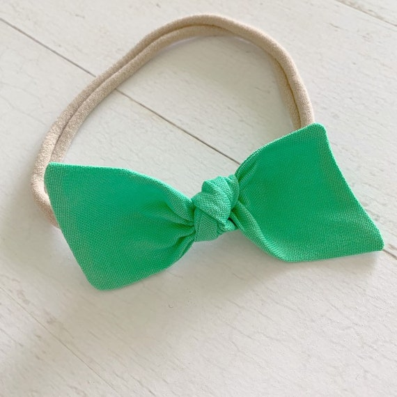 Baby bow nylon headband {Spring Green} newborn headbands - hair clip bows - baby girl clothing - baby shower gifts