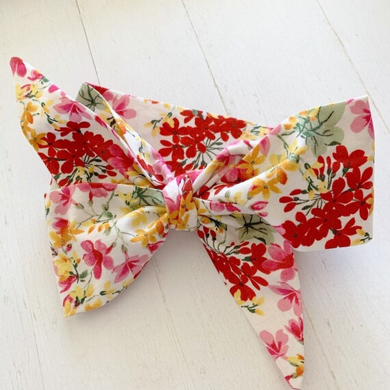 Baby head wrap bow- Big hair bows- baby headbands- toddler bows {Autumn Floral}