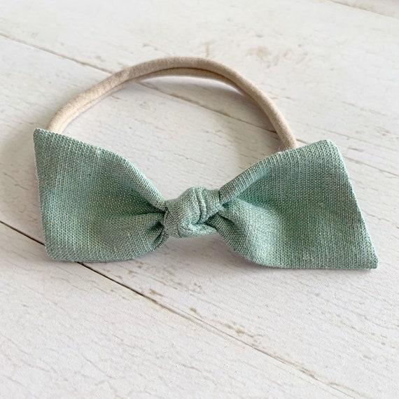 Baby girl bow headband {Sea Foam Shimmer} newborn headbands, nylon headbands, hair bows