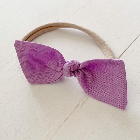 Baby girl headband bow {Lilac Purple} newborn headbands, hair bows, hair clips