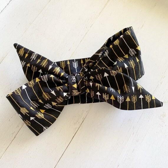 Head wrap bow {Black Arrows} baby bows, hair accessories, headbands