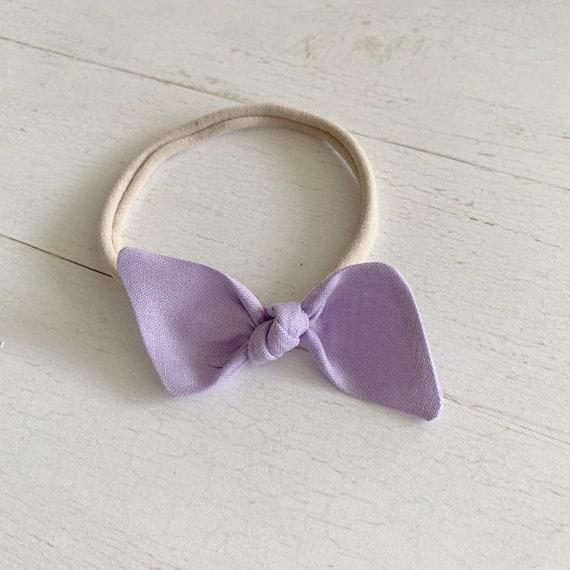 Bitsy knot bow {Lavender} nylon headbands, baby hair bows