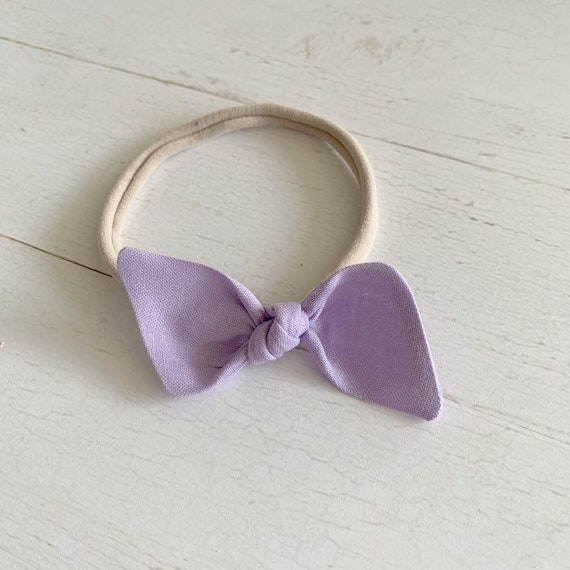 Baby headband- nylon headbands- newborn bows- hair clip {Lavender}