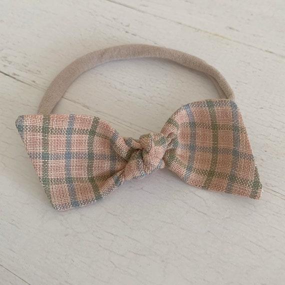 Baby bow headband, nylon headbands, newborn headbands - baby hair bows - hair clips - hair accessories {Mauve Plaid}