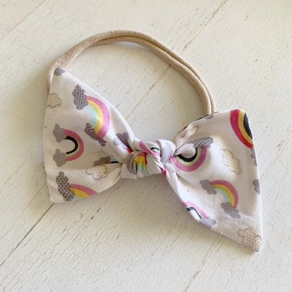 Large knot bow headband {Rainbows}baby girl headbands, newborn bows, baby gifts