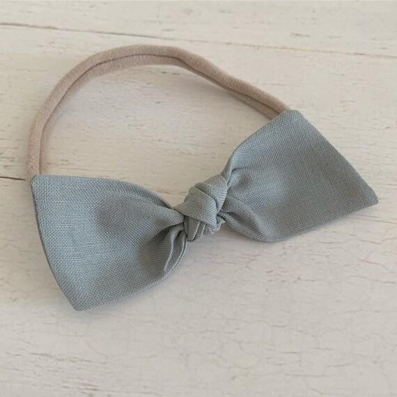 Baby headband, newborn nylon headbands - baby hair bows - hair clips - hair accessories {Muted Peacock}