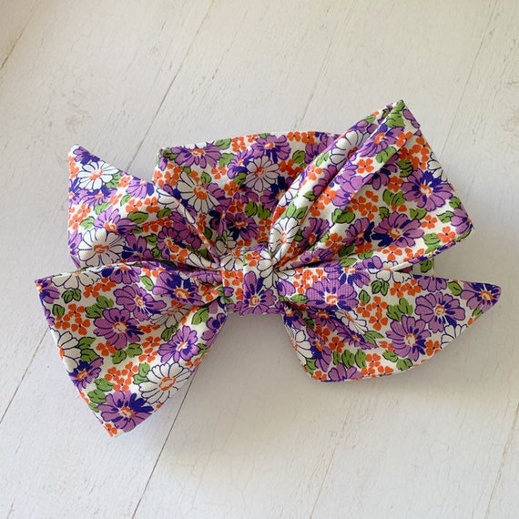 Headwrap hair bow {Purple Daisy} newborn bows, baby girl clothes, head scarf