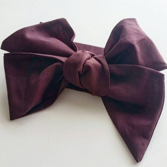 Head wrap bow { Plum } baby bows, girl bows, hair accessories, hair accessory, headbands