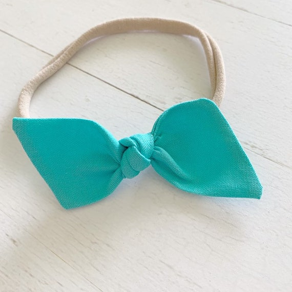 Bitsy knot bow nylon headband {Aquamarine} newborn headbands - baby clothing - hair bow clips