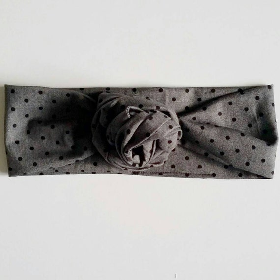 Head wrap {Charcoal & Dots} baby bows, fabric bows, baby headbands