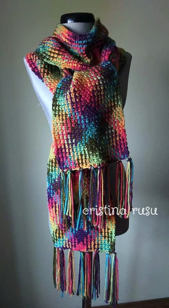 Blanket scarf ,Autumn crochet scarf , Planned Pooling Scarf , Plaid Color Pooled Rainbow ,gift for woman ,ready to ship