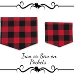 DIY Sewing, Mommy and Me Pockets For Shirts, Red and Black Buffalo Plaid Iron or Sew On Craft Kit For Adults