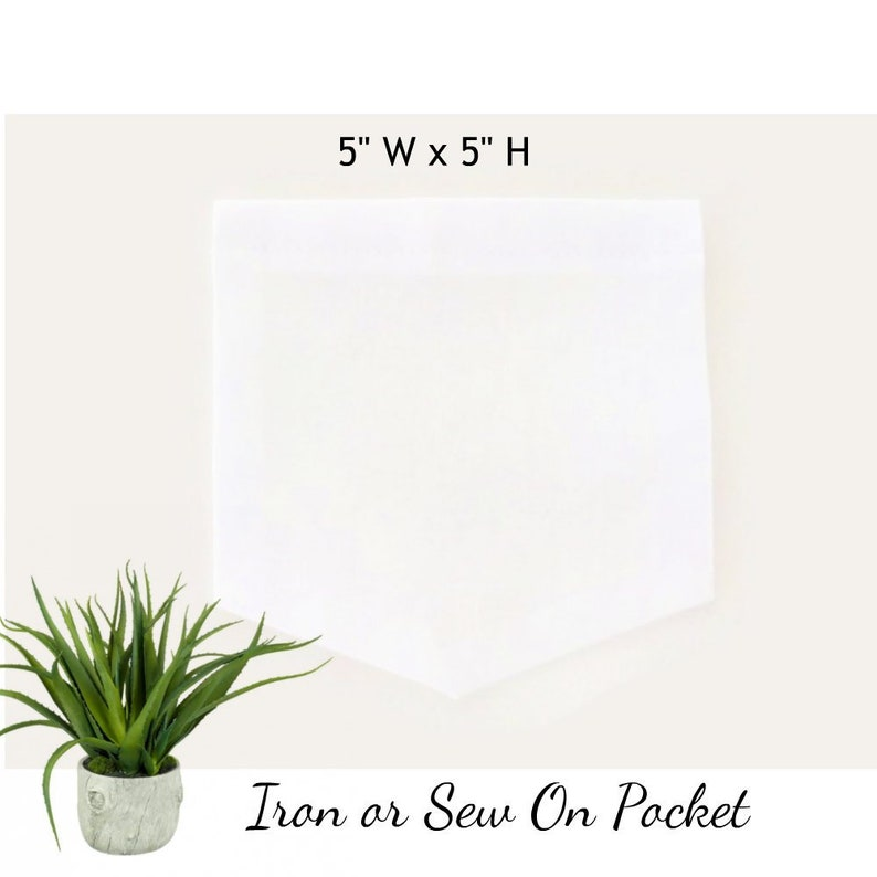 Iron Or Sew On White Cotton Shirt Pockets Diy Craft Kit For Etsy