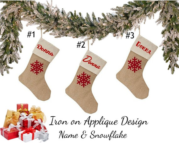 Diy Craft Kit Custom Personalized Iron On Christmas Stocking Name With Fabric Applique Snowflake Design By Diy Sewing