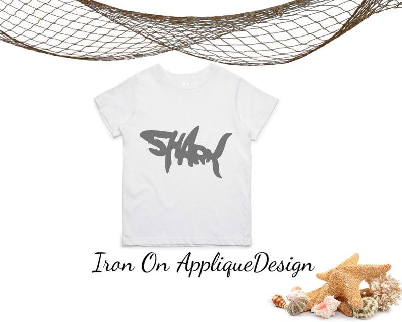 DIY Kit Iron On Shark Applique Design Shark Birthday T image 0