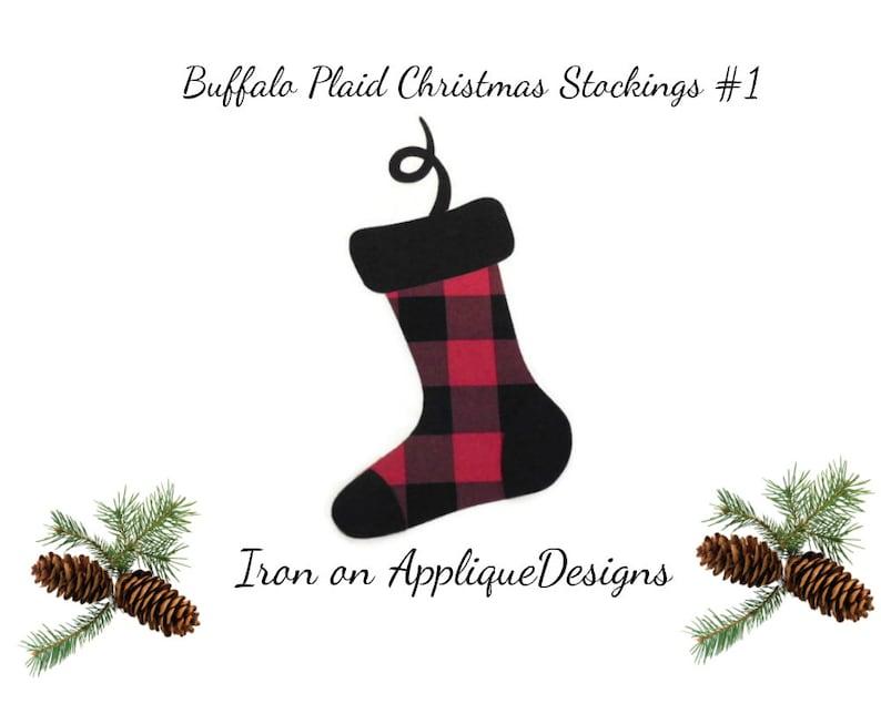 DIY Kit Christmas Stockings Iron On Applique Design For Pillows Buffalo Plaid Christmas Decor Aprons or Shirts
