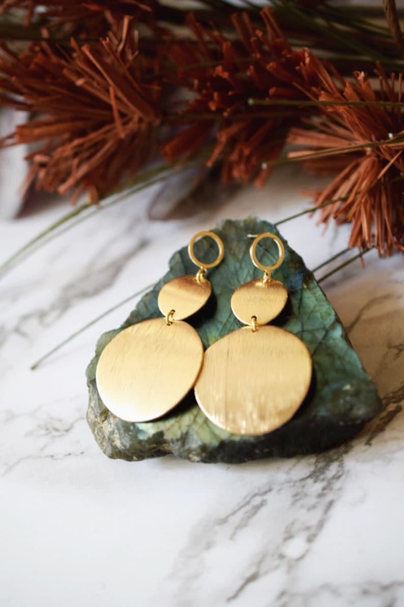 Large gold earrings Sun disc earrings