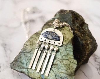 Lapis silver fringe necklace
