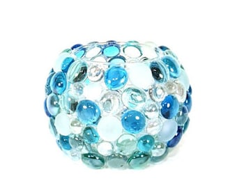 Blue Glass Beaded Candle Holder