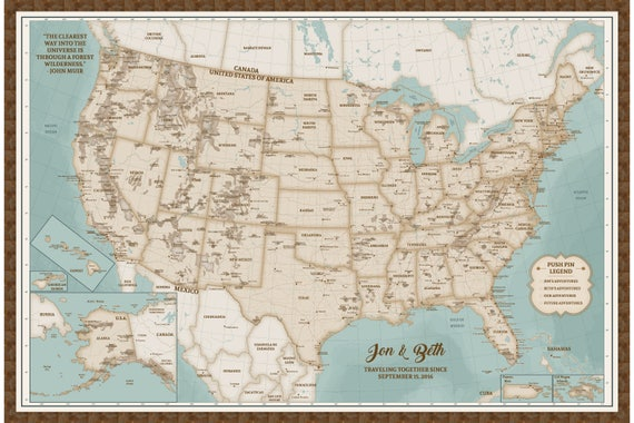 United States Map Of National Parks Push Pin Map National Park   Etsy