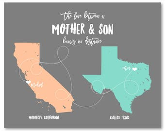 Personalized Mom Gifts for Mom Personalized Gifts for Mom from Son Mothers Day from Son Gifts for Mom Long Distance Mom Gift from Son 2 Map