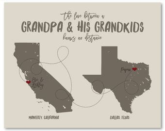 Gifts for Grandparents, Long Distance Personalized Gift, Grandchildren Grandkids, Unique Map Art Print, Mothers Day Present, Custom Sign