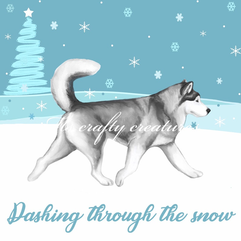 Husky Christmas Cards.Alaskan Malamute Christmas Card Malamute Greeting Card Dog Christmas Cards Sled Dog Card Husky Christmas Card
