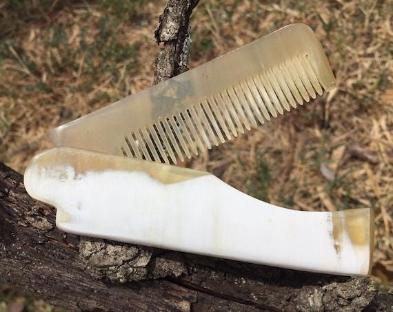 Premium FOLDING Real BUFFALO Yak Ox HORN Perfect Hair Beard Mustache Folding Pocket Dixie Cowboy Comb Anti Static Electricity Stress F6
