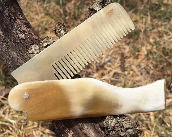 Premium FOLDING Real BUFFALO Yak Ox HORN Perfect Hair Beard Mustache Folding Pocket Dixie Cowboy Comb Anti Static Electricity Stress v29