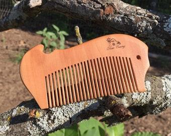 "Handmade TEXAS Reclaimed PEACH WOOD 4"" Styling Dress Pocket Purse Perfect Beard Mustache Hair Comb Men's Women's Dixie Cowboy w26"