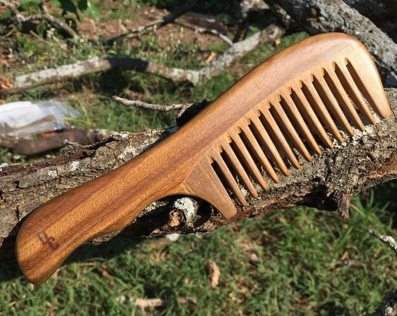 "Handmade Green SANDALWOOD 7"" 7.5"" Handle Detangler Detangling Thick Deep Wide Tooth Toothed Wet WOOD Hair COMB Dixie Cowboy v42"