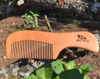"Handmade TEXAS Reclaimed PEACH WOOD 6"" Styling Dress Pocket Purse Perfect Beard Mustache Hair Comb Men's Women's Dixie Cowboy t35"