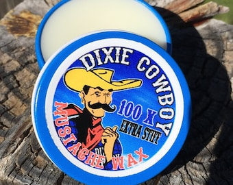 Dixie Cowboy - Premium Grade 1/2 oz All Natural Petroleum Free and Organic Mustache Wax 100X EXTRA STIFF Strong Hold unscented & scented