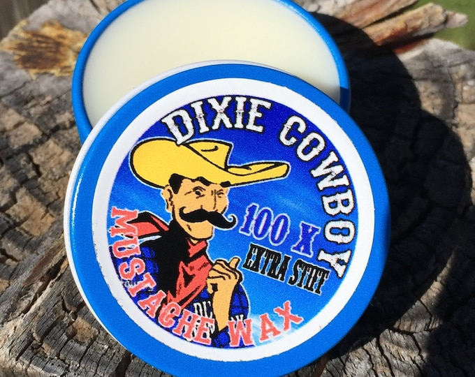 Featured listing image: Dixie Cowboy - Premium Grade 1/2 oz All Natural Petroleum Free and Organic Mustache Wax 100X EXTRA STIFF Strong Hold unscented & scented