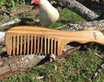 """Handmade Green SANDALWOOD 7"""" 7.5"""" Handle Detangler Detangling Thick Deep Wide Tooth Toothed Wet WOOD Hair COMB Dixie Cowboy v43"""