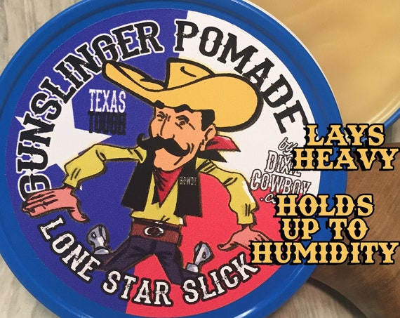 All New GUNSLINGER Texas Tough Natural Hair Firm Hold POMADE Oil Based Lone Star Slick 4oz Rockabilly Grease Greaser Styling Wax