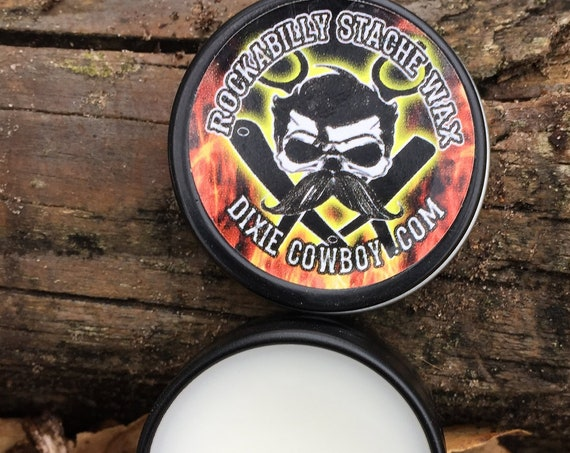 ROCKABILLY Stache WAX Premium Grade All Natural Petroleum Free and Organic Mustache Wax STIFF Strong Hold by Dixie Cowboy Greaser Moustache
