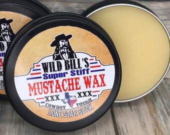WILD BILL'S Super Stiff Mustache Wax XXX 1/2 oz & 1 Oz available Extra Competition Strong Firm Hold Lone Star Slick Dixie Cowboy Handlebar