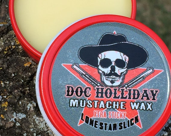 DOC HOLLIDAY Super Extra Sticky Super Hold Stiff Mustache Wax 1/2 oz & 1 Oz available Strong Firm Hold Lone Star Slick Dixie Cowboy