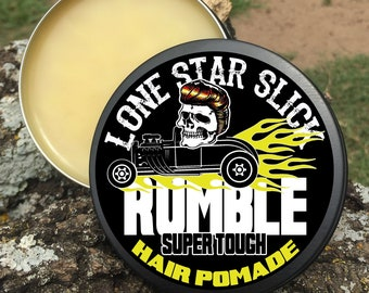 RUMBLE Super Tough POMADE 4oz Lays Heavy Firm Super Hold Matte Finish All Natural and Organic Ingredients Hair Lone Star Slick Dixie Cowboy