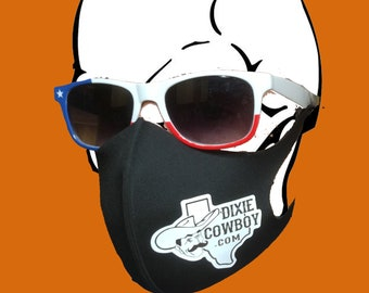 USA Made FACE MASK Covering Dixie Cowboy Lone Star Slick Men's Women's Adult Comfortable Stretch Sport Fabric One Size