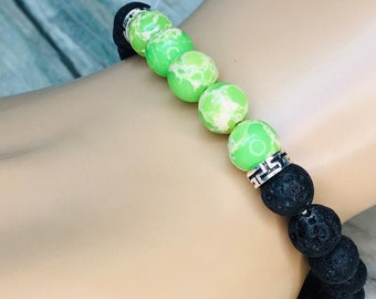 Black LAVA BEAD & Green Accent Beads Volcanic Stone Rock Bracelet Essential Oil Diffuser Elastic Men's Women's Dixie Cowboy J13
