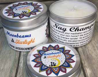 NAG CHAMPA - Moonbeams and Starlight Candle 4 Ounce Metal Tin 100% Natural Soy & Beeswax No Parrafin or Chemicals Dixie Cowboy