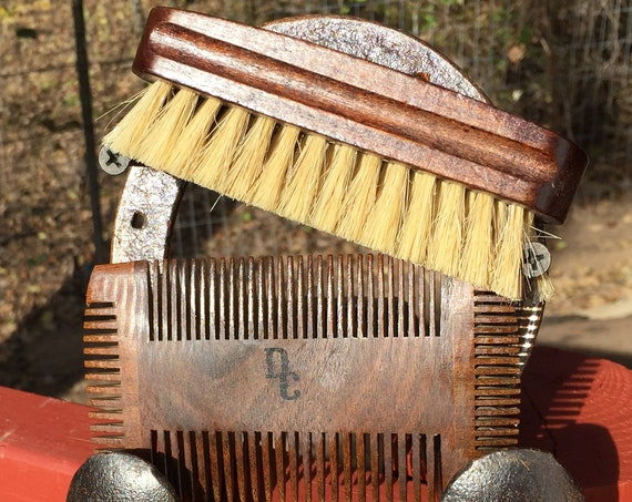 "2pc CHRISTMAS Gift Set BOAR Hair Wood Beard Bristle Brush & 4 Sided Comb 4.5"" Medium Palm Military USA Made Mustache Dixie Cowboy Tx56"