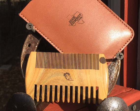 "Perfect Men's Christmas Gift 4"" SANDALWOOD COMB with Case Wood BEARD Mustache Double Sided Fine & Wide Tooth Pocket Hair Dixie Cowboy C3"