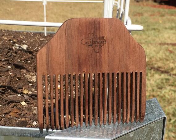 "Perfect Man Men's Gift Handmade 3"" Texas BLACK WALNUT Distressed WOOD Perfect Beard Mustache Medium Fine Pocket Hair Comb Dixie Cowboy t15"